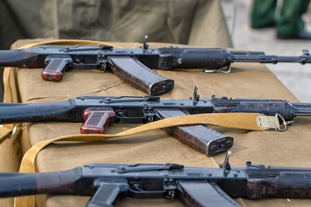 assault rifles on the table. Russian weapon