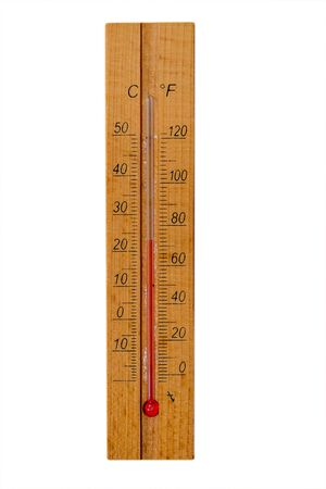 Wooden thermometer isolated on white background Stockfoto