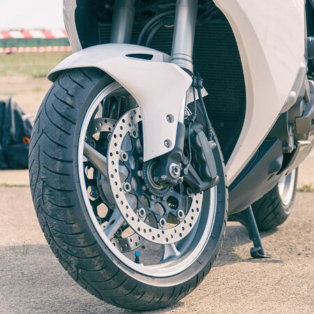 White road bike front wheel with front disc brake