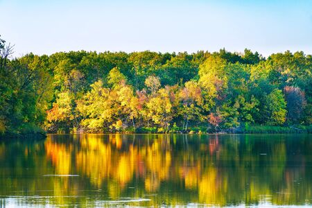 Quiet lake in the autumn forest, among the autumn, yellowing trees