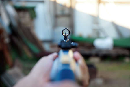 A simple Sight on a rifle. Selective focus