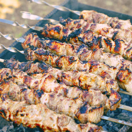 Roasted meat cooked at barbecue and skewers during a picnic