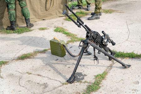 A light machine gun on bipod with telescopic sights. Russian weapon