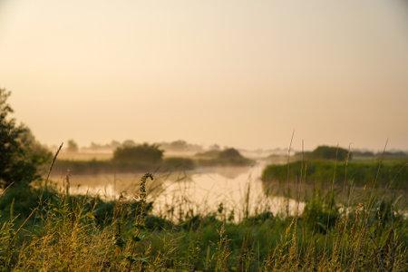 Sunrise in a light fog on a small river Фото со стока