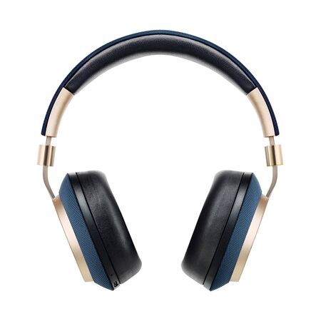Gold and Blue Headphones Isolated on White Background. Front View Black Golden Wireless Noise Cancelling Over-the-Ear Headset With Integrated Microphone. Acoustic Stereo Sound System