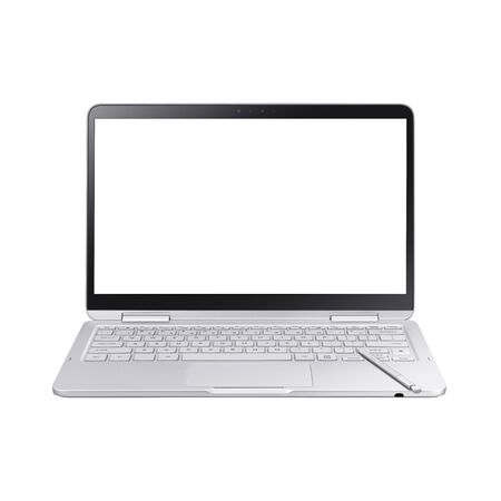 Laptop Isolated on White. Front View of Modern Slim Design Mobile Pc Netbook. Silver Aluminum Portable Personal Notebook Computer with Blank LED Touch Screen Monitor and Pen. 360 Degree Hinge Keyboard Stockfoto