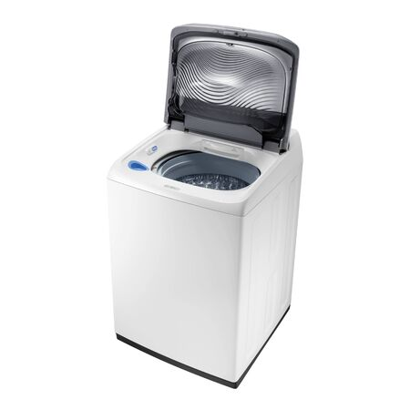 Open Top Load Washer with Integrated Control Panel Isolated on White. Side & Top View of White Top Loading Washing Machine 4.5 cu. ft. Capacity. Domestic and Household Appliances. Home Innovation