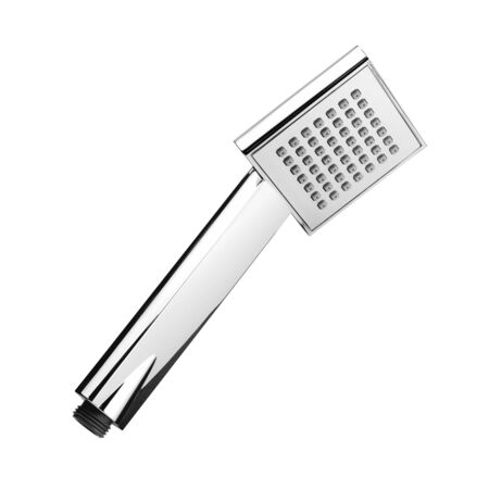 Shower Head Isolated on White Background. Modern Bathroom Shower Accessories. Chrome Hand Shower Spray. Side View of Stainless Steel Handshower. Square Single Function Shower Handset