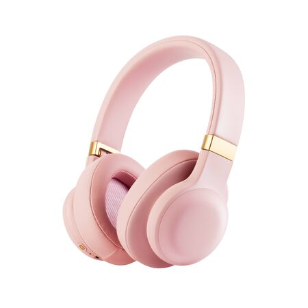 Bluetooth Headphones Isolated on White Background. Side View Dusty Rose Combined Wireless and Wired Over-the-Ear Headset With Noise Cancelling and Integrated Microphone. Acoustic Stereo Soun