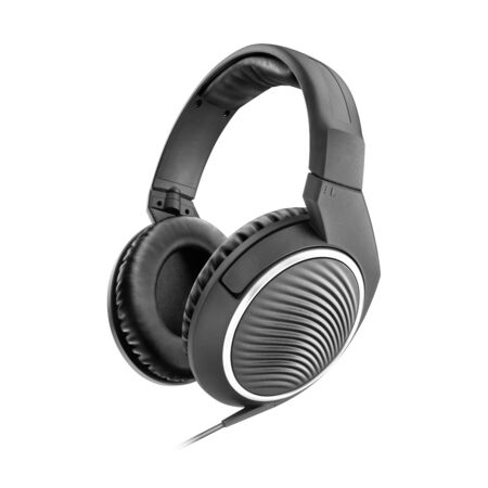 Headset Isolated on White Background. Side View Black Weird Stereo Headphones With Inline Mic Integrated Microphone and Audio Cable. Advanced Acoustic Stereo Sound System Powerful Neodymium Magnets Standard-Bild