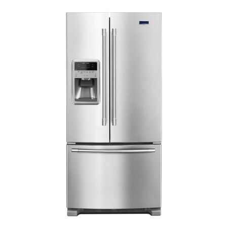 French Door Refrigerator Isolated on White Background. Front View of Stainless Steel Three Door Bottom Mount Fridge with Express Chill Zone. Kitchen and Domestic Appliances. Full Frost Free Freezer