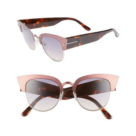 Semi Rimless Sunglasses Isolated on White Background. Half-Rim Eyeglasses. Front and Side View of Pink Glasses with Bold Cat Eye Frames. Modern Protective Eyewear Shades. Eye Protection Accessories