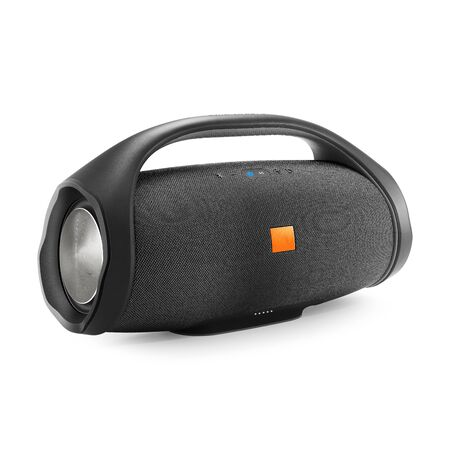 Portable Wireless Speaker Isolated on White. Side View of Black Powerful Stereo Sound System with Splashproof Fabric Design. Noise and Echo Cancelling Speakerphone. Cell Phone Accessories