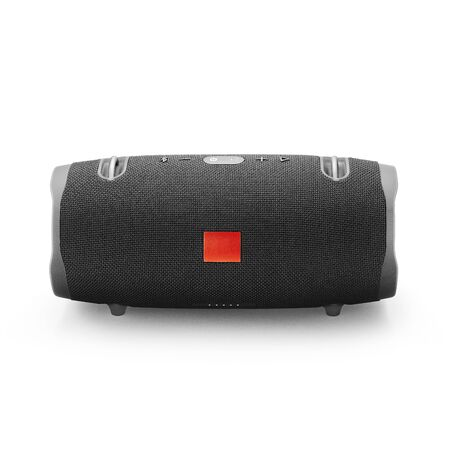 Portable Wireless Speaker Isolated on White. Front View of Black Waterproof Speakerphone with Bass Radiators and Noise Echo Cancelling. Powerful Stereo Sound System Cell Phone Accessories