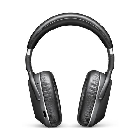 Headphones Isolated on White Background. Front View Black Stereo Wireless Headset With Inline Mic Integrated Microphone and Audio Cable. Powerful Advanced Acoustic Stereo Sound System