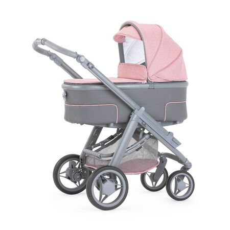 Pink and Grey Stroller Isolated on White. Side View Gray Baby Transport. Pushchair and Carrycot with Canopy and Swivel Wheels. Infant Carriage Seat. Travel System or Pram with Elevators and Raincover Imagens