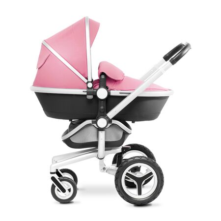 Stroller Isolated on White Background. Side View of Pink Baby Transport. Pushchair and Carrycot with Canopy and Swivel Wheels. Infant Carriage Seat. Travel System or Pram with Elevators and Raincover Banco de Imagens