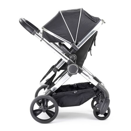 Black Stroller Isolated on White Background. Side View of Baby Transport. Pushchair with Canopy and Swivel Front Wheels. Infant Carriage Seat. Travel System or Pram with Adjustable Showerproof Hood