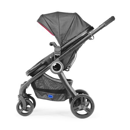 Black Baby Transport Isolated on White Background. Side View of Stroller. Travel System with Canopy and Swivel Front Wheels. Infant Carriage Seat. Pushchair or Pram with Adjustable Showerproof Hood