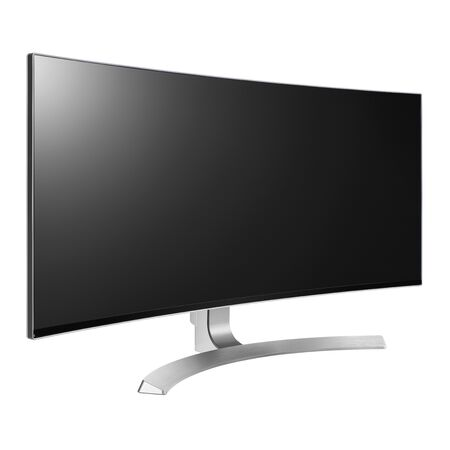 Curved TV Screen Isolated on White. Side View of Slim Design Ultrawide 4K UHD 34 LED LCD Tele. Brand New Black Modern HD Widescreen Telly. Flat Monitor Screen Television with Blank Anti-Glare Display