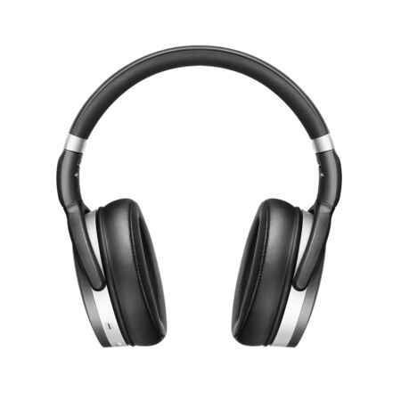 Headphones Isolated on White Background. Front View Black Silver Wireless Over-the-Ear Headset With Noise Cancelling and Integrated Microphone. Acoustic Stereo Sound System
