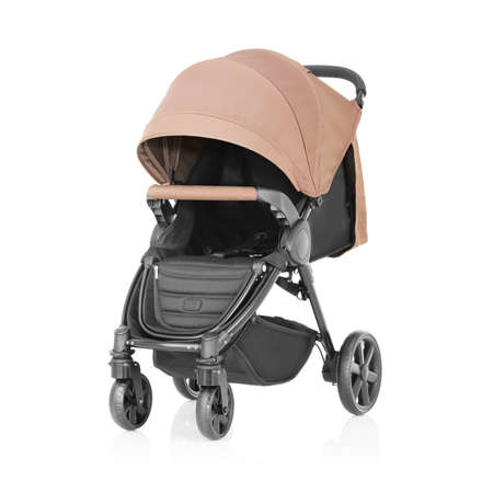 Baby Stroller Isolated on White Background. Side View of Travel System with Brown Canopy and Swivel Front Wheels. Infant Carriage Seat. Pushchair or Pram with Adjustable Showerproof Hood
