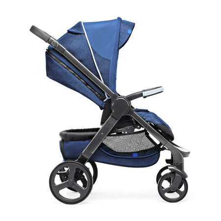 Blue Baby Transport Isolated on White Background. Side View of Stroller. Travel System with Canopy and Swivel Front Wheels. Infant Carriage Seat. Pushchair or Pram with Adjustable Showerproof Hood
