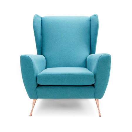 Upholstered Wingback Accent Wing Chair with Copper Feet Isolated on White Background. Front View of Modern Teal Club Armchair with Upholstered Wings. Interior Furniture. Brushed Plain Fabric Armchair with Armrests