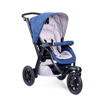 Blue Baby Travel System Stroller Isolated on White Background. Side View of Baby Transport with Canopy and Swivel Front Wheels. Infant Carriage Seat. Pushchair or Pram with Adjustable Showerproof Hood