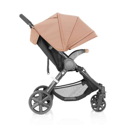 Baby Stroller Isolated on White Background. Side View of Travel System with Brown Canopy and Swivel Front Wheels. Pushchair or Pram with Adjustable Showerproof Hood. Infant Carriage Seat