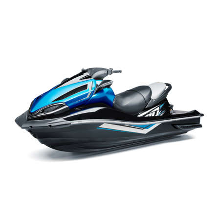 Blue and Black Jet Ski Isolated on White Background. Side View of Water Scooter. PWC Personal Water Craft Vehicle. Recreational Watercraft. 3D Rendering