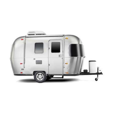 Travel Trailer Isolated on White Background. Camping and Traveling Towed Recreational Vehicle. Side View of Stainless Steel Glamping Motorhome. Modern Caravan Car. Family Vacation Travel. Holiday Trip