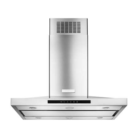 Range Hood Isolated on White Background. Front View of Island Ventilation. Cooking Canopy. Stainless Steel Fume Extractor. Front View of Electric Chimney. Kitchen Appliances. Clipping Path