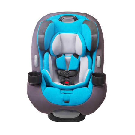 Blue Child Safety Seat Isolated on White Background. Side View of Modern Soft Baby Restraining Car Seat. Babies Side Impact Protection Infant Restraint System