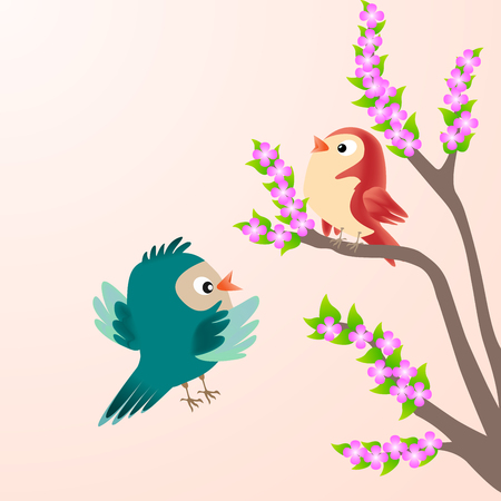 two birds: Two birds and blossom cherry branches spring.