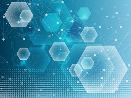 構造分子、Dna、原子、ニューロンの通信。設計の科学概念。ドットの接続線は。医療、技術、化学、科学の背景。