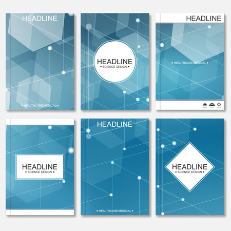 Diseño moderno para el folleto, folleto, la cubierta, el informe anual. Resumen molécula de estructura y comunicación. Plantillas de negocio. Concepto de la ciencia de ADN o neuronas. Ilustración de vector