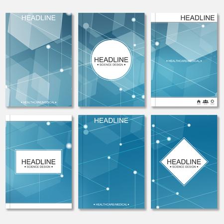Diseño moderno para el folleto, folleto, la cubierta, el informe anual. Resumen molécula de estructura y comunicación. Plantillas de negocio. Concepto de la ciencia de ADN o neuronas.
