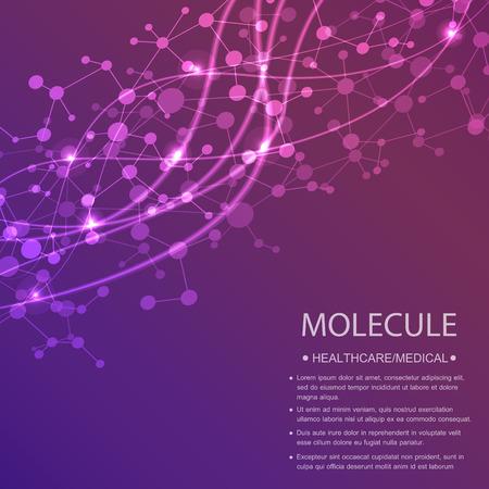 molécule de structure et de la communication Dna, atome, les neurones. concept de la science pour votre conception. lignes connectées avec des points. Médicale, de la technologie, la chimie, la science fond. Vector illustration.