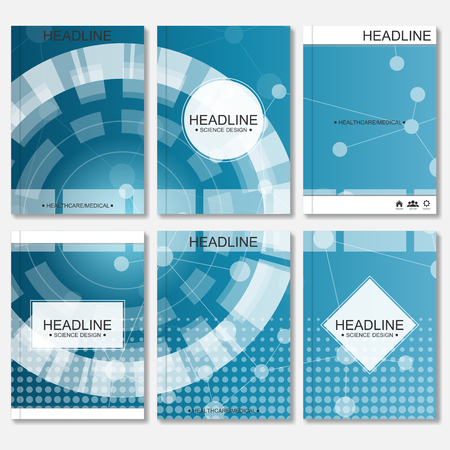 portadas de libros: Science vector background. Modern vector templates for brochure, flyer, cover magazine or report in A4 size. Molecule structure and communication on the blue background..