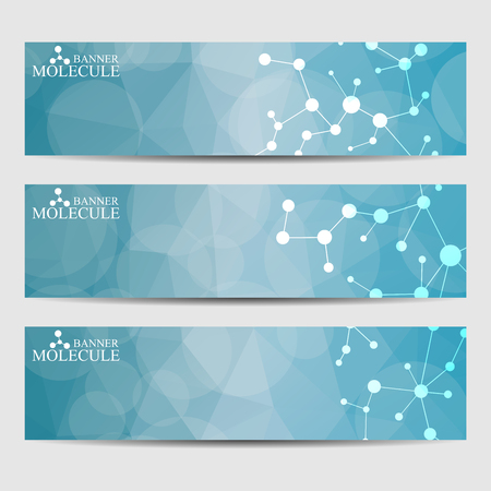 banners web: Abstract geometric banners molecule and communication. Science and technology design, structure DNA, chemistry, medical background, business and website templates. Vector illustration.