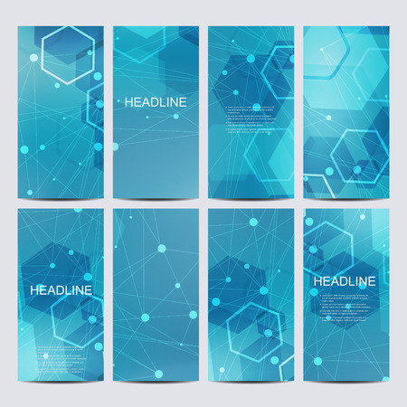 Abstract geometric banners molecule and communication. Science and technology design, structure DNA, chemistry, medical background, business and website templates.