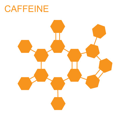 caffeine: The molecular structure and communication at a background. illustration. Formula of Caffeine.
