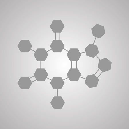 caffeine molecule: The molecular structure and communication at a background. illustration. Formula of Caffeine.