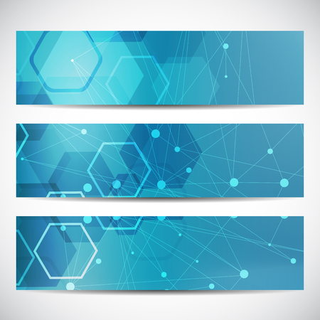 Abstract geometric banners molecule and communication. Science and technology design, structure DNA, chemistry, medical background, business and website templates. illustration.