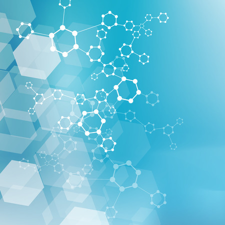 Molecule structure and communication on the blue background. Vector illustration, Illusztráció