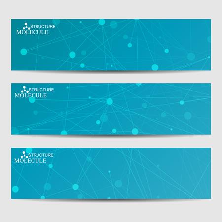 cromosoma: Resumen banners molécula y la comunicación geométrica. La ciencia y la tecnología de diseño, estructura de ADN, la química, antecedentes médicos, los negocios y el sitio web.