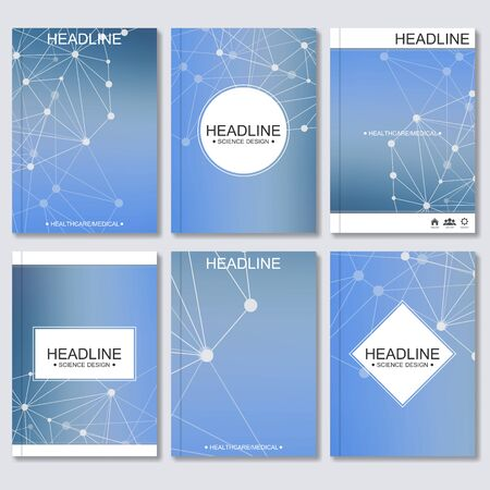 bases: Science vector background. Modern vector templates for brochure, flyer, cover magazine or report in A4 size. Molecule structure and communication on the blue background..