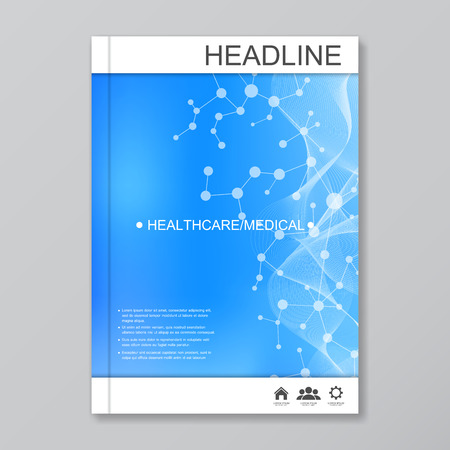 macromolecule: Science vector background. Modern vector templates for brochure, flyer, cover magazine or report in A4 size. Molecule structure and communication on the blue background..