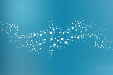 molécule de structure et de la communication Dna, atome, les neurones. concept de la science pour votre conception. lignes connectées avec des points. Médicale, de la technologie, la chimie, la science fond. Vector illustration